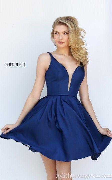 Navy V-Neck Short Dress