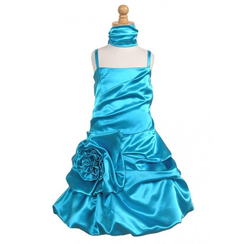 Mariage - Turquoise Satin Bubble Dress w/ Gathered Flower & Shawl Style: D717 - Charming Wedding Party Dresses