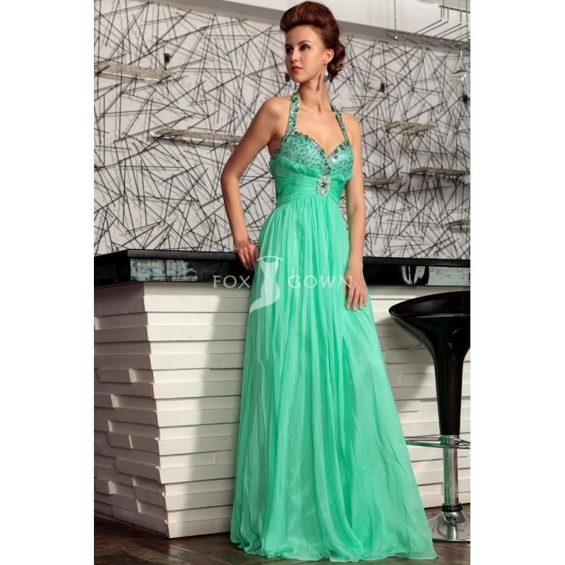 Mariage - Chiffon a-line Halfter formelle Kleidung mit Pailletten Kristall grün Beading Sweetheart Halsausschnitt - Festliche Kleider