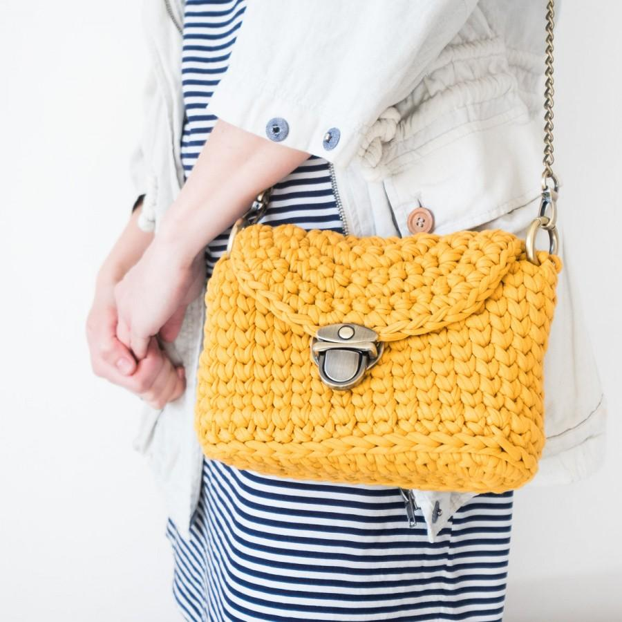 Wedding - Women's Crossbody Bag / Handmade Crochet Shoulder Bag / Cotton Yellow Crossbody / Summer Crochet Bag with Chain Handle
