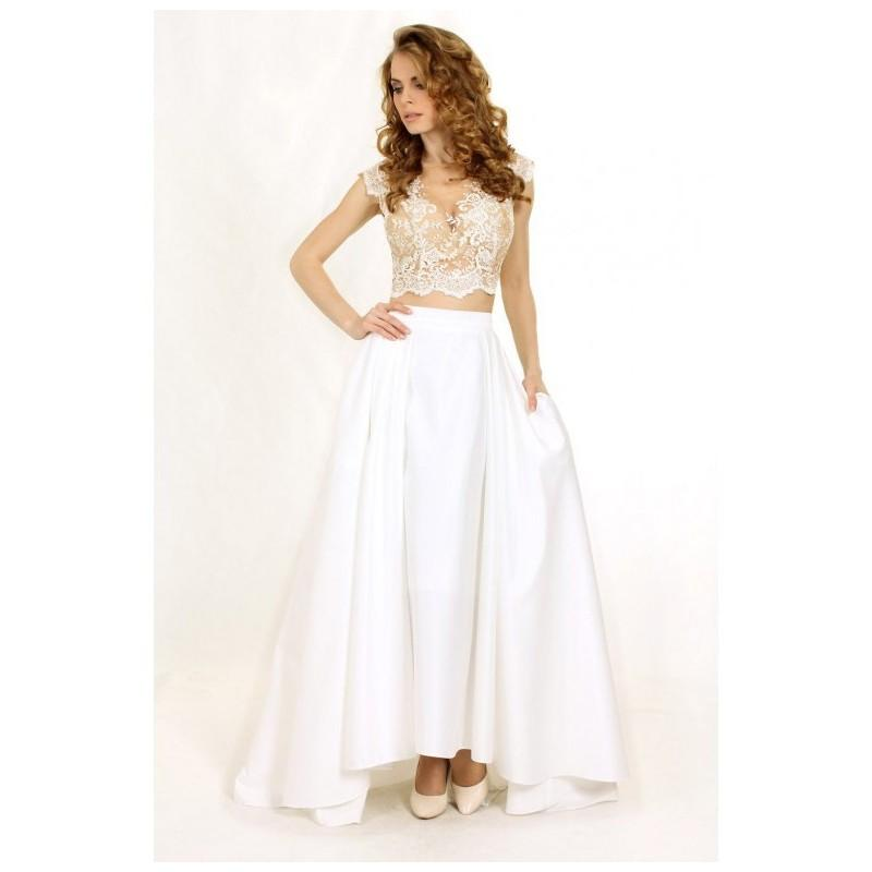White Prom Dress, Two-piece Set Prom Dress, Elegant Prom Dress, Crop ...