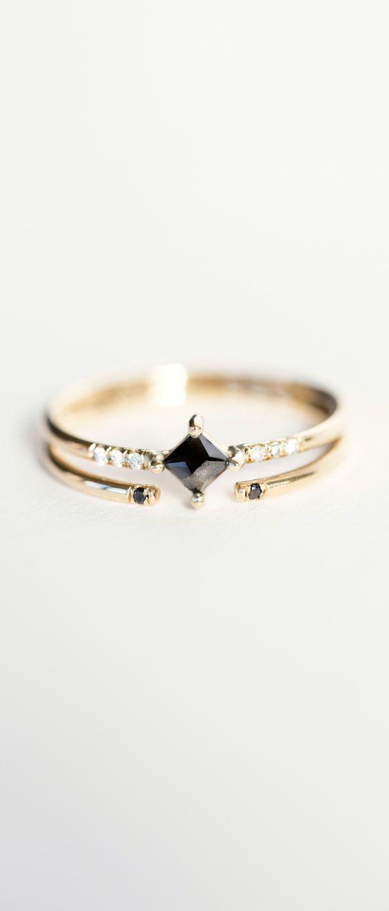 Wedding - Jennie Kwon Designs Diamond Equilibrium Point Ring & Black Diamond 2 Cuff Ring