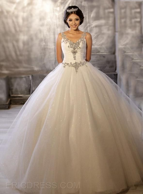 Wedding - $ 191.19 Gorgeous V-Neck Beading Ball Gown Wedding Dress