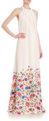 Wedding - Oscar de la Renta Floral-Print Silk Halter Gown