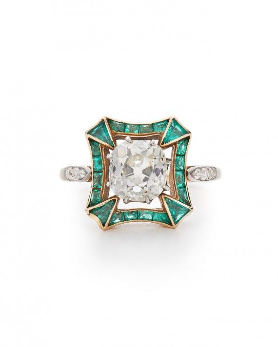 Wedding - Diamond Ring Framed With Emerald