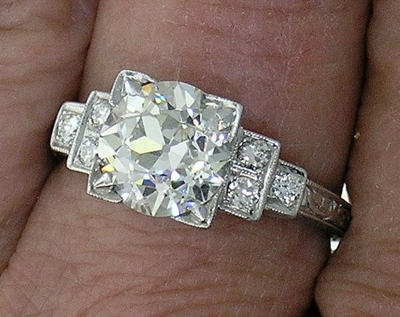 Wedding - Art Deco Engagement Ring, European Cut Diamond 2.01ct I Color, VS1 Clarity