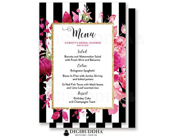 Bridal shower menu wedding menu baby shower menu reception menu bridal shower menu wedding menu baby shower menu reception menu rehearsal dinner menu bar black stripe pink roses diy or printed christy mightylinksfo Choice Image