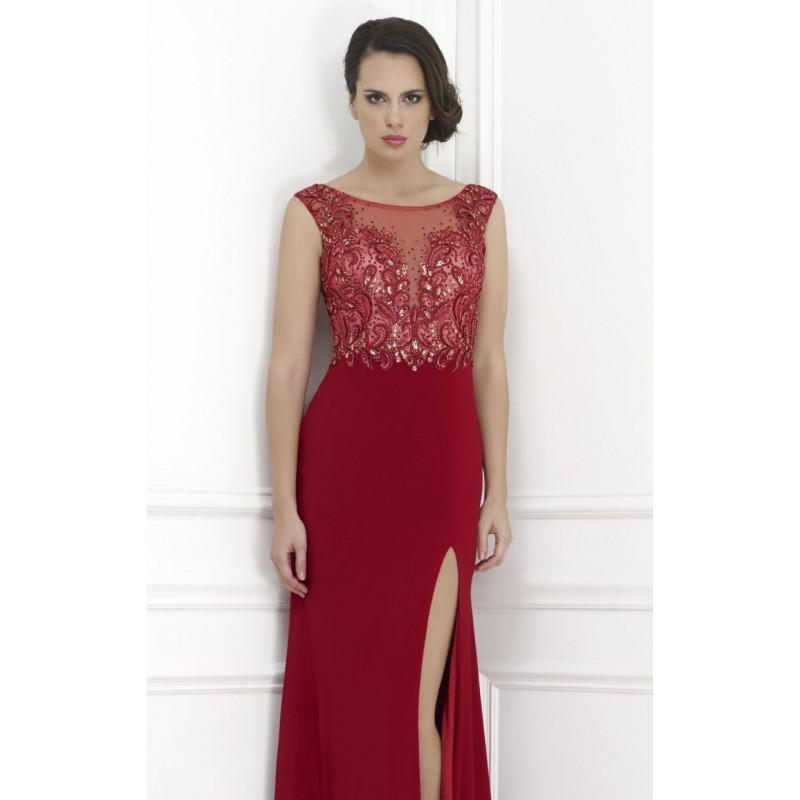 Wedding - Beaded Bateau Neckline Evening Gown by Morrell Maxie 14623 - Bonny Evening Dresses Online