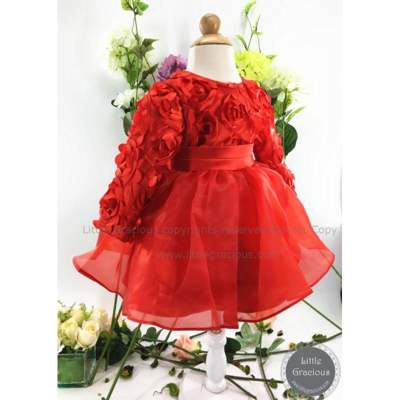 Свадьба - Red Toddler Pageant Dress w/ Long Sleeves, Hot Baby Dress for Christmas, Baby Girl Dress, Birthday Party Dress PD121 - Hand-made Beautiful Dresses
