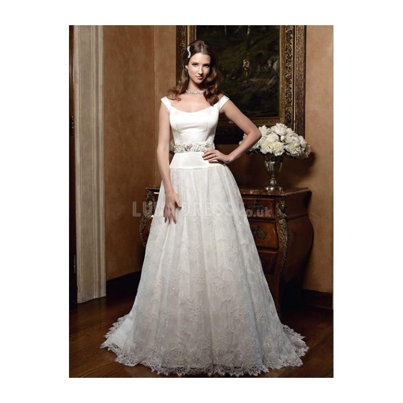 Свадьба - Vintage Satin Off the Shoulder Princess Natural Waist Floor Length Wedding Gowns - Compelling Wedding Dresses