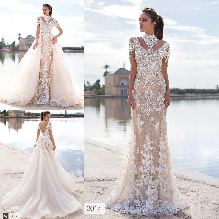 63d2c0662a Cheap Latest 2017 Stunning Overskirts Wedding Dresses 3d Floral Appliques  Lace High Neck Long Sleeve Backless Bridal Gowns With Detachable Train As  Low As ...