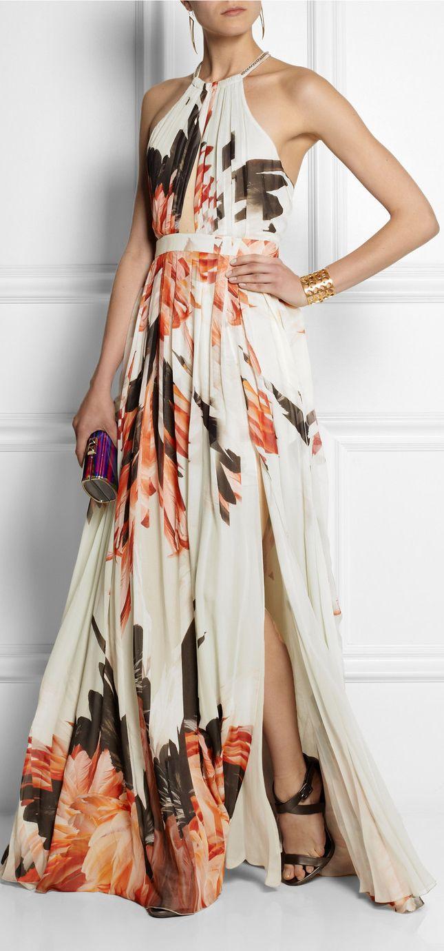 Wedding - Women's Orange Printed Silk-Chiffon Gown
