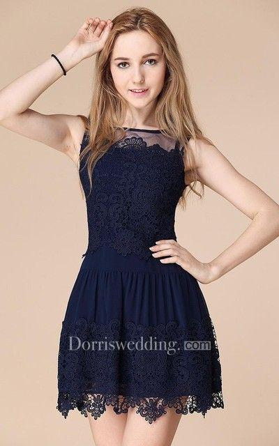 Mariage - Newest Illusion Sleeveless Short Homecoming Dress With Lace