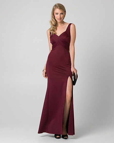 Mariage - Scuba Knit V-Neck Pleated Gown