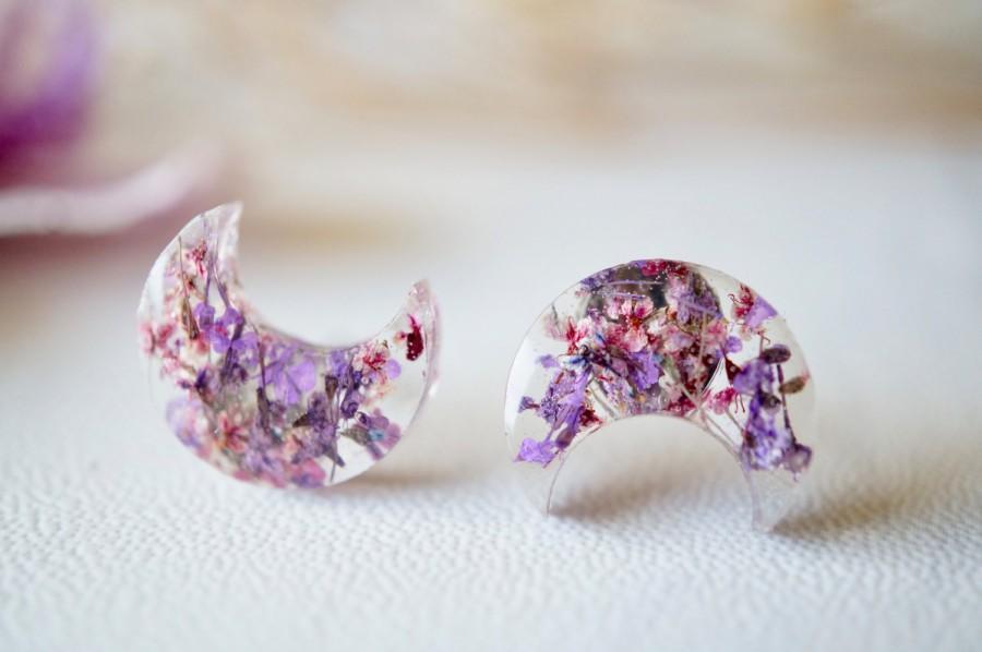 Свадьба - Real Dried Flowers and Resin Moon Stud Earrings in Purples