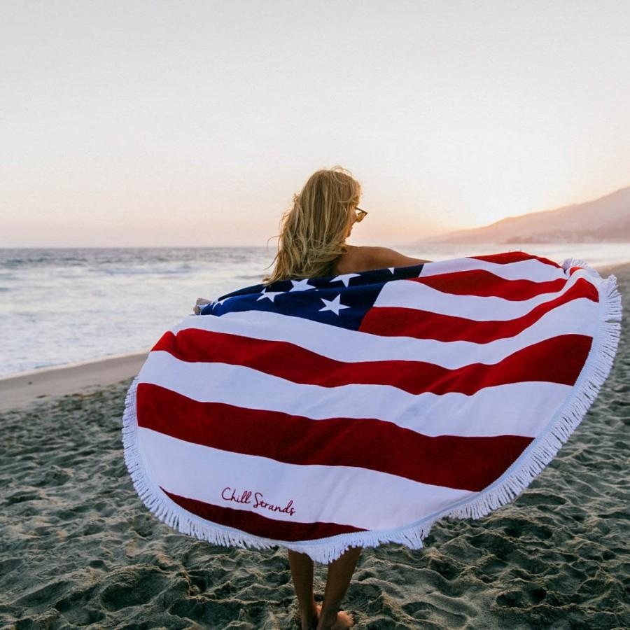 Düğün - Red, White & Chill American Flag Round Beach Towel, Roundie Towels, Round Towel Tassels, Round Beach Throw, Round Blanket, Oversized Towel