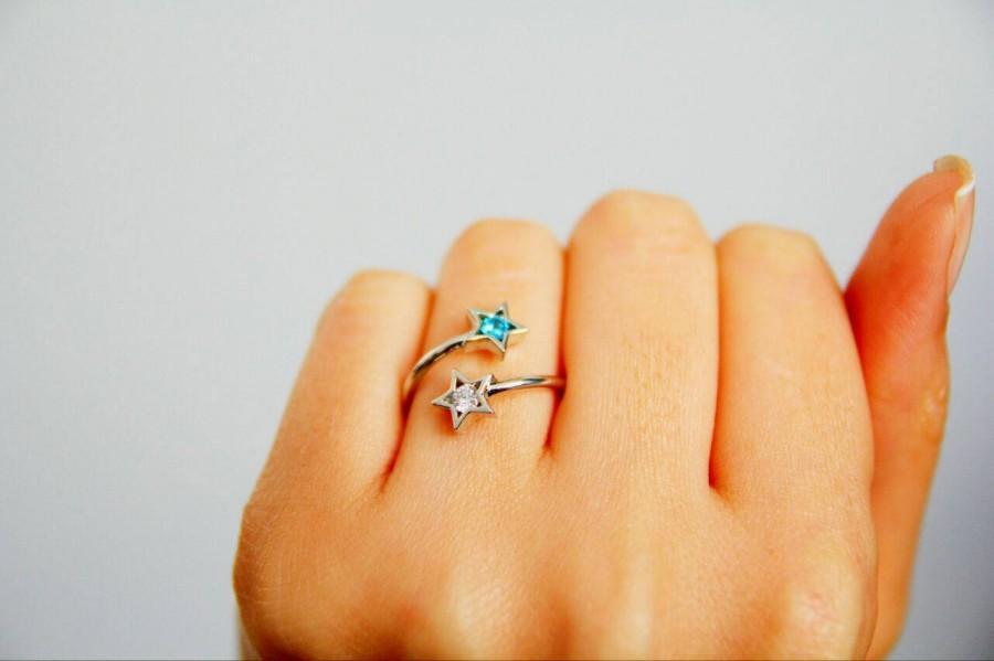 Hochzeit - Dual Birthstone Ring-Mothers Ring Birthstones-Couples Ring-Birthstone Ring-Personalized Gifts-Personalized Ring-Two Star Birthstone Ring