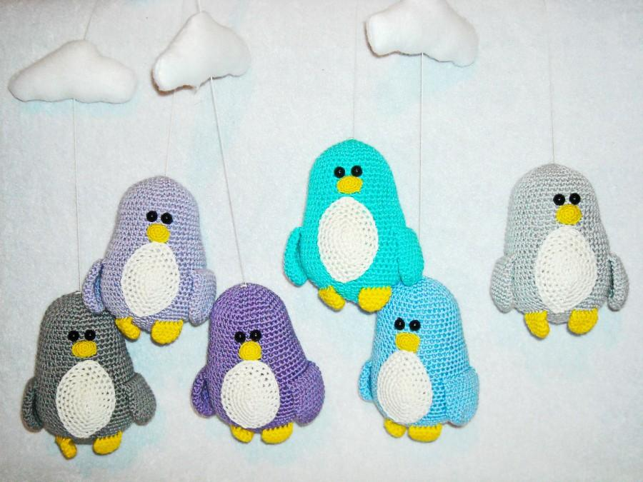 Hochzeit - Baby mobile Penguins baby gift crochet  Penguins crib mobile nursery decor Penguins crochet mobile baby mobile clouds baby shower gift