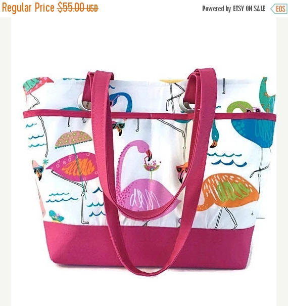 Hochzeit - SALE large beach bag, tote, flamingo, whimsical, pink, travel tote, waterproof, vacation bag, gift for women, gift for mom