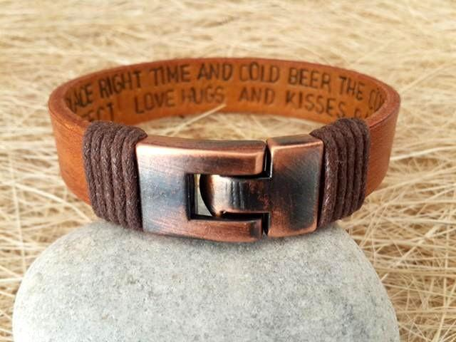 Hochzeit - Men's Personalized Bracelet,Men's Leather Bracelet, Anniversary Graduation Gift for Him,Valentines Gift , Handmade Bracelet