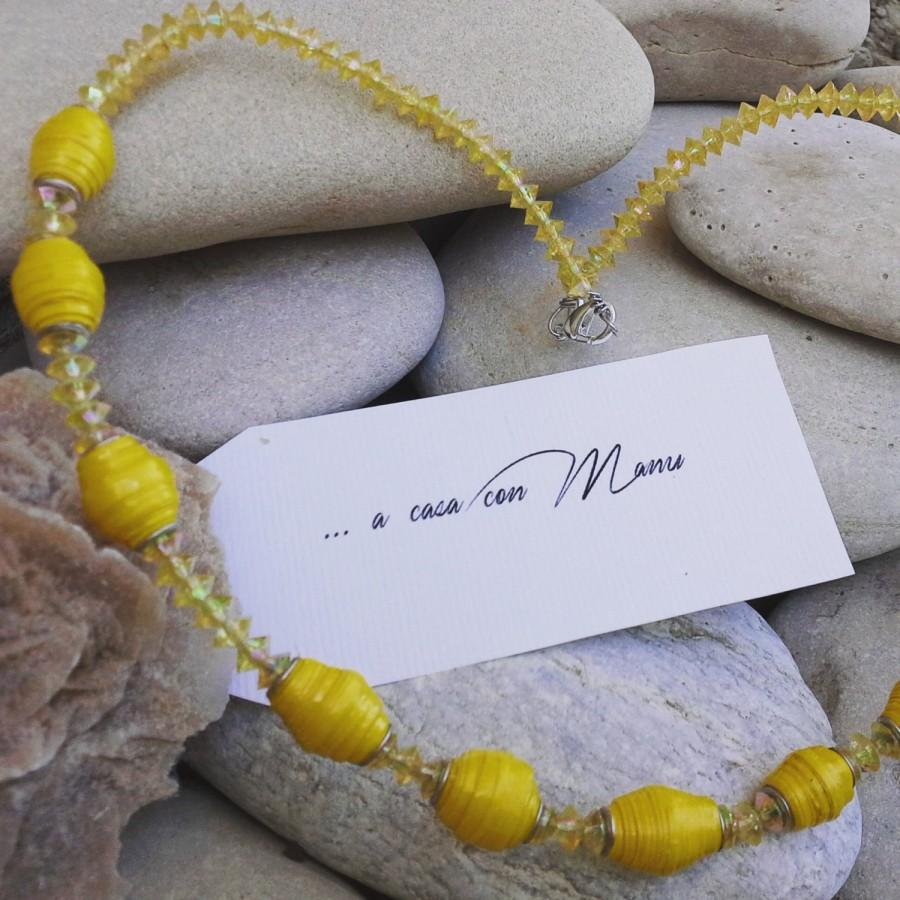 Wedding - Collana lunga - long necklace - yellow necklace - perle di carta - pearl paper - yellow - handmade - made in Italy