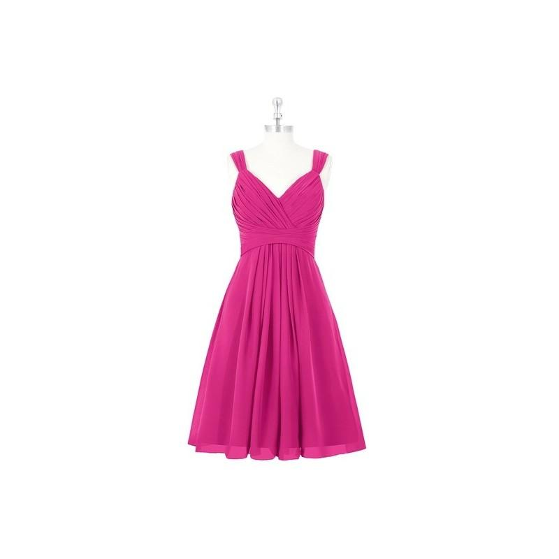 Wedding - Fuchsia Azazie Clara - Knee Length Chiffon Back Zip V Neck Dress - Cheap Gorgeous Bridesmaids Store