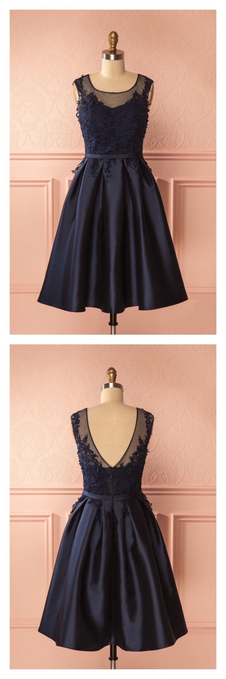 Mariage - A Line Navy Blue Round Neck Applique Knee Length Homecoming Dresses Party Dresses Prom Dresses Graduation Dresses(ED1806)