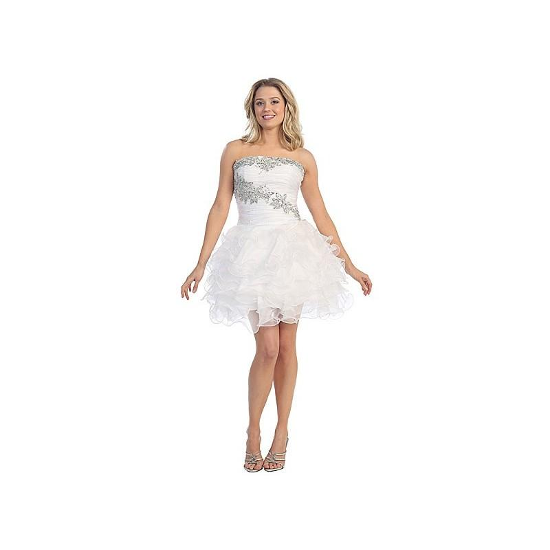 Wedding - Two Tone Layered Organza Prom Dress in White - Crazy Sale Bridal Dresses