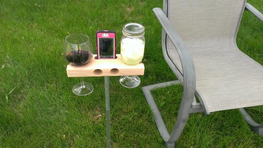 Wedding - Wine Glass Holder, Smartphone Dock/Speaker. Works w/ most smartphones including iPhone 6s 6s+, galaxy s7.  The Wine Dock - Gift!