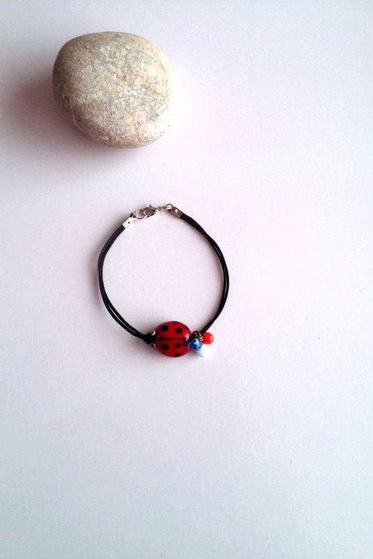 Hochzeit - Ladybug Bracelet, Women Bracelet, Ladybug Charm Bracelet, Insect Jewelry, Ladybug Black Bracelet, Ladybug Jewelry, Gift For Her