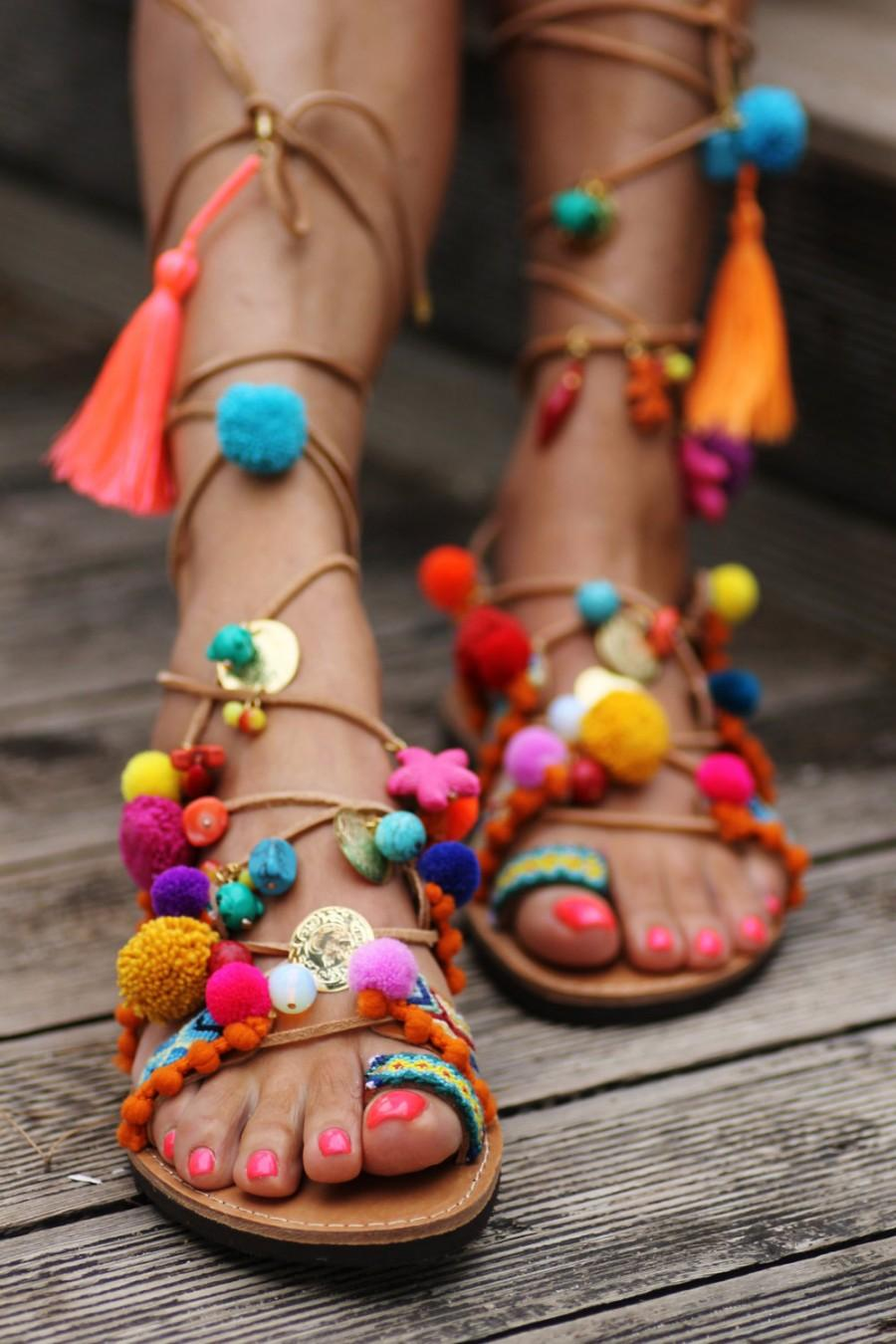 "Wedding - Tie up gladiator sandals ""Penny Lane''  (handmade to order)"