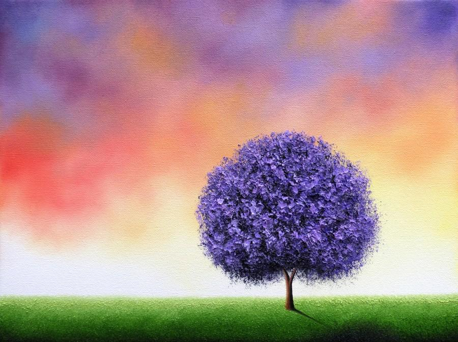 Boda - Print of Lavender Tree Painting, Archival Photo Print of Purple Tree Art, Modern Art Wall Art, Multi Colored Orange and Purple Sky Landscape