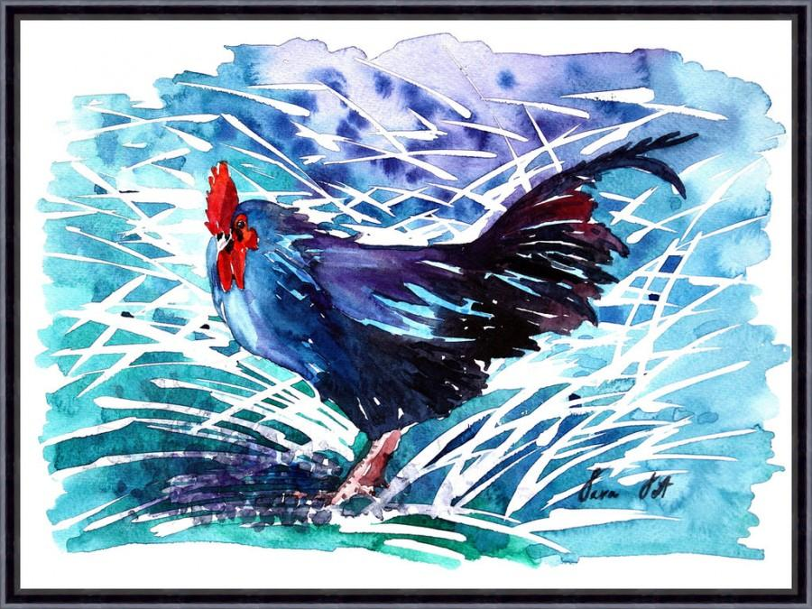 Wedding - Digital Download, Rooster Art Chicken - Watercolor Painting Art Print - Fall home decor and wall art Tara Tet
