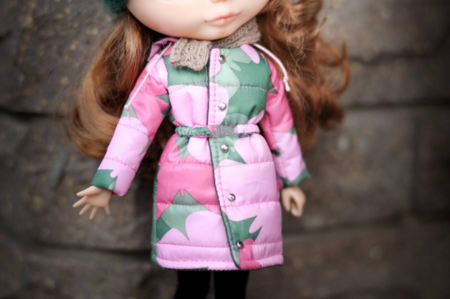 Boda - Blythe winter coat khaki and pink jacket by BlablaBlythe
