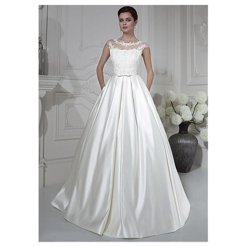 Wedding - Marvelous Tulle & Satin Bateau Neckline A-line Wedding Dresses with Beaded Lace Appliques - overpinks.com