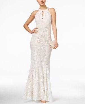 Hochzeit - Nightway Petite Lace Keyhole Halter Gown - Blue 10P
