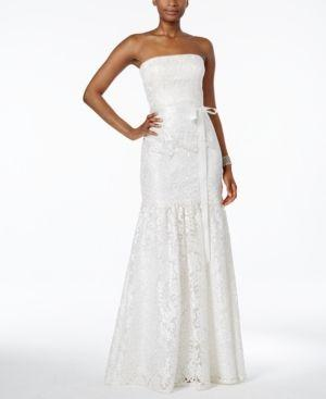 Boda - Adrianna Papell Lace Strapless Mermaid Gown - White 16