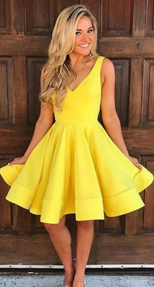 Wedding - Yellow V Neck Homecoming Dresses, S