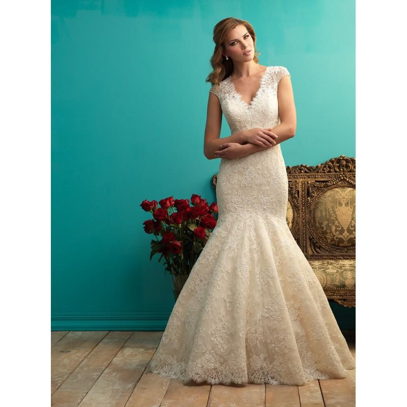 Allure Bridals 9255 Cap Sleeve Lace Mermaid Wedding Dress Crazy