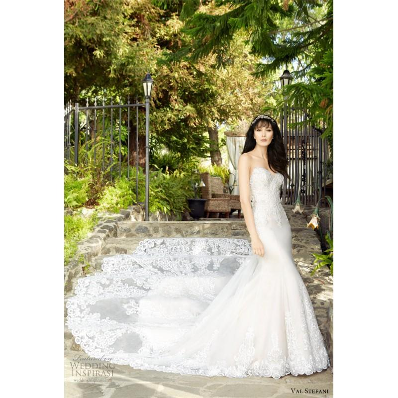 Wedding - Val Stefani D8136 RHAPSODY Fall/Winter 2017 Wedding Dress Sweet Cathedral Train Sweetheart Fall Lace Wedding Dress - Top Design Dress Online Shop