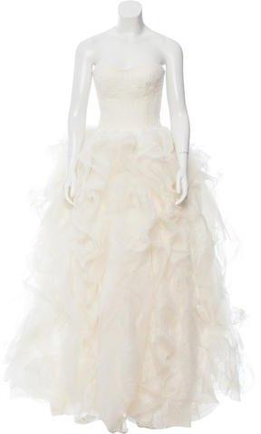 Wedding - Vera Wang Strapless Lace Wedding Gown