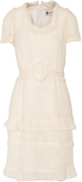 Wedding - Lanvin - Tiered Crinkled Silk-chiffon Dress - Ecru
