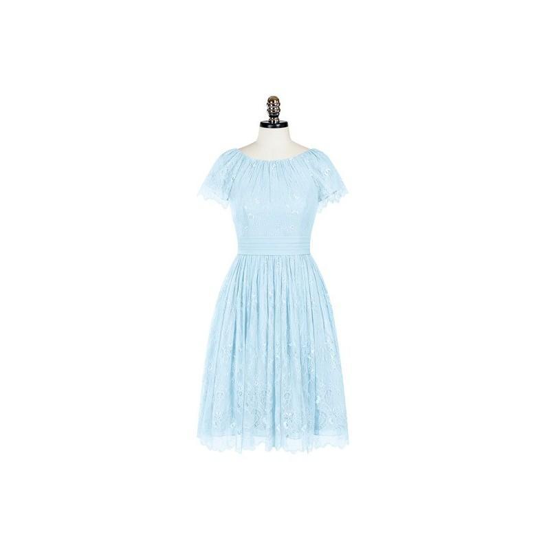 Wedding - Sky_blue Azazie Phoebe - Scoop Chiffon And Lace Knee Length Back Zip Dress - Charming Bridesmaids Store