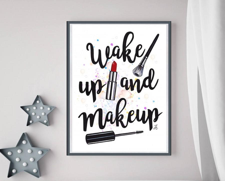 Mariage - INSTANT DOWNLOAD, digital print, digital file, digital watercolor, makeup illustration, makeup girl art, girl fashion art, positive quotes