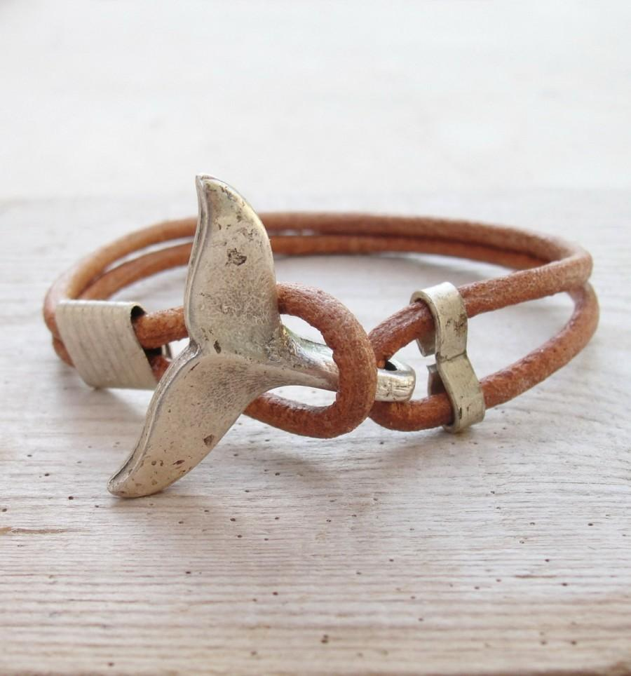 Hochzeit - Whale Tail Bracelet - Nautical Bracelet Beach Jewelry Leather and Metal
