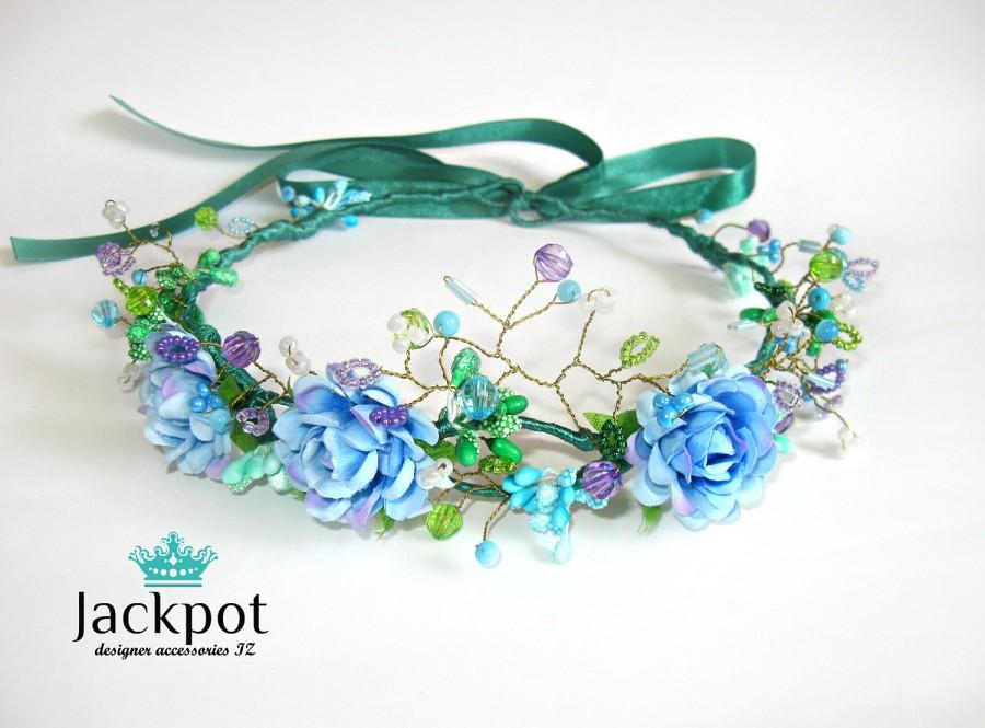Düğün - Light blue Purple Green headpiece wreath Flower crown Bridal headband Halo baby Maternity photo Shoot child Flower girl Boho wedding