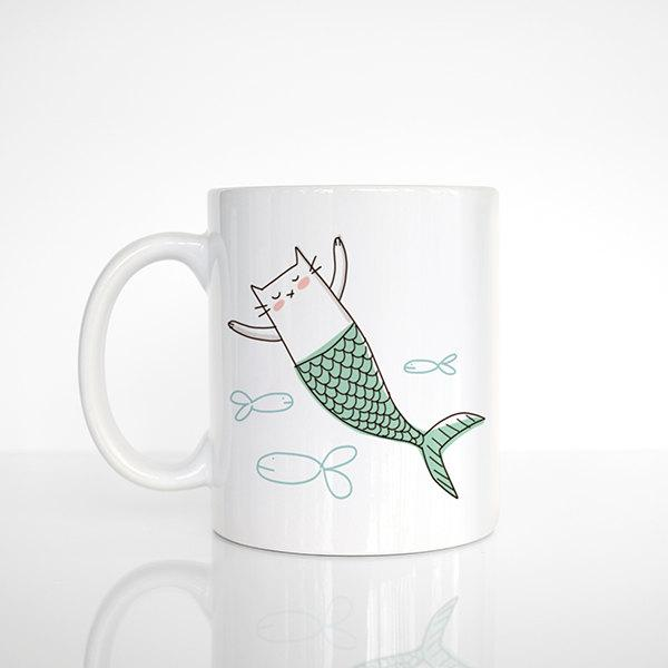 Boda - Cat Mermaid Cat Mug, Mermaid Mug, Unique Gift for Friend Girlfriend Gift for Her, Cat Coffee Mug, Funny Mug Fun Mug Cute Mug, Cat Coffee Cup