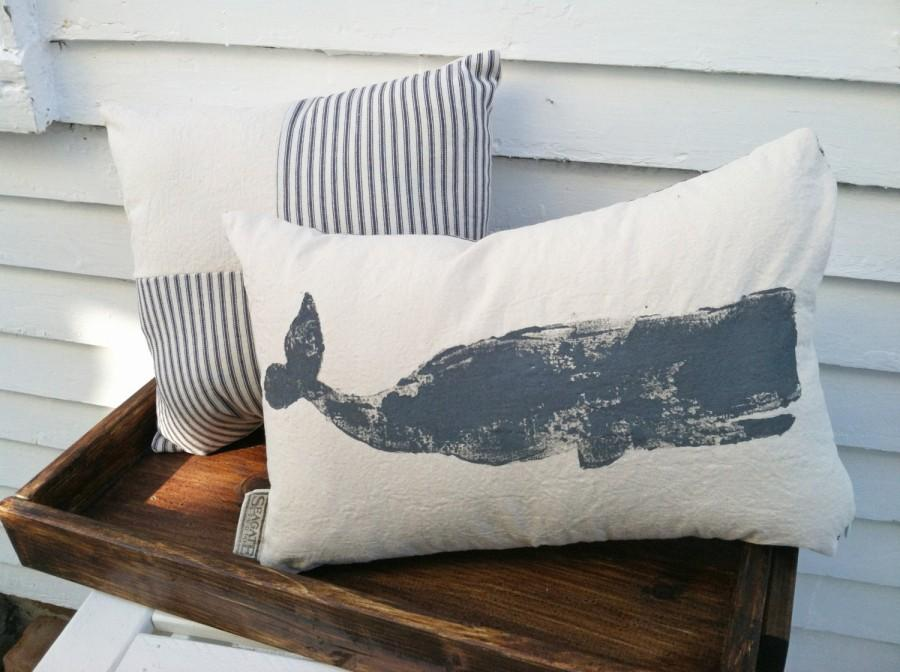 Boda - Whale Pillow - nautical pillow, nautical decor, whale decor, sperm whale, Nantucket whale