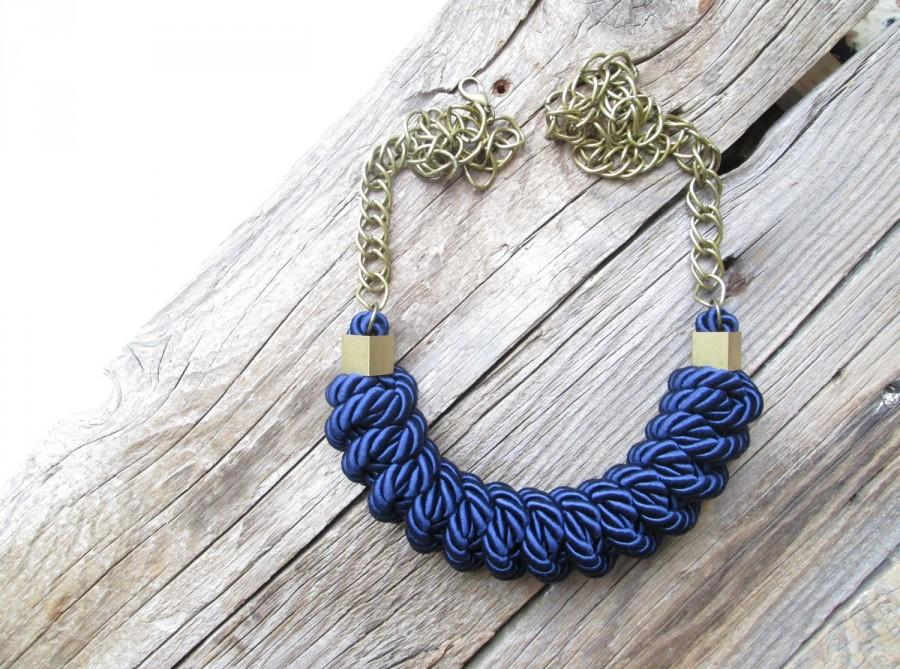 Wedding - Navy blue Rope necklace knot necklace