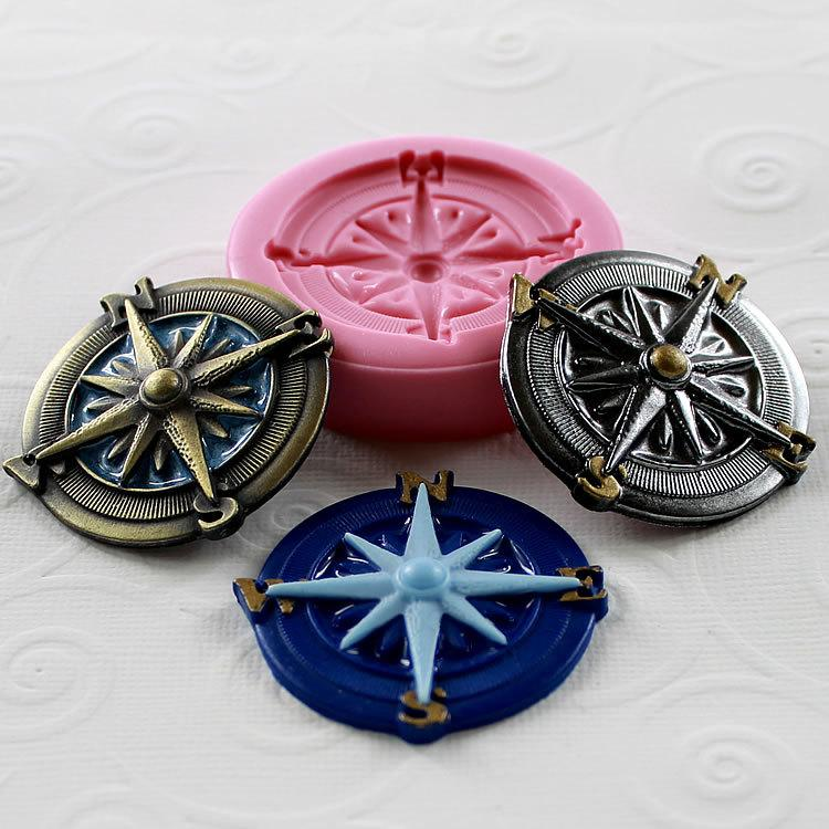 Hochzeit - Nautical Silicone Mold Compass Resin Polymer Clay PMC Flexible Jewelry mold mould (282)